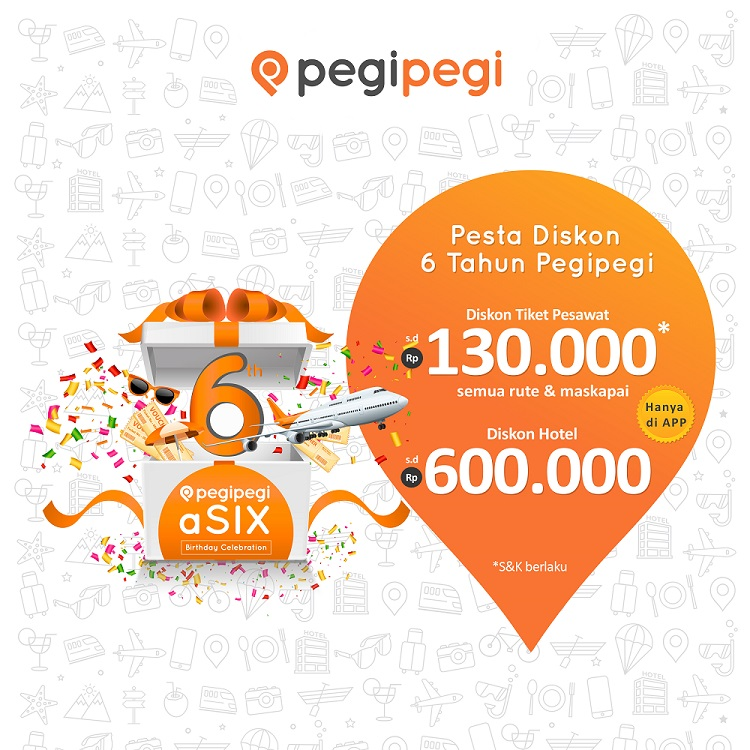 Rayakan HUT ke 6, Pegipegi Tebar Diskon aSIX Hingga Rp 730.000