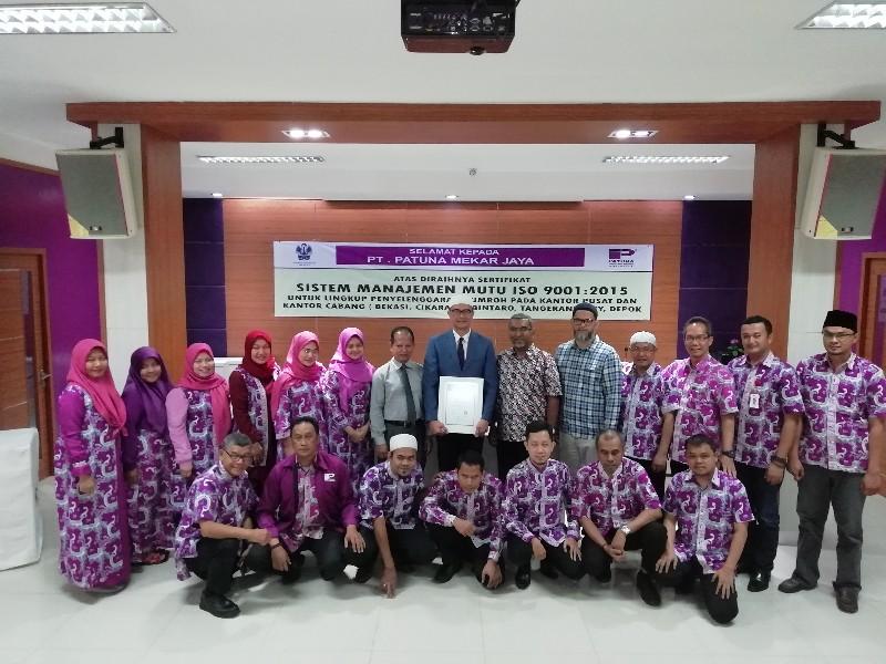 Awal 2019, Patuna Travel Resmi Kantongi Sertifikasi Manajemen Mutu ISO 9001-2015