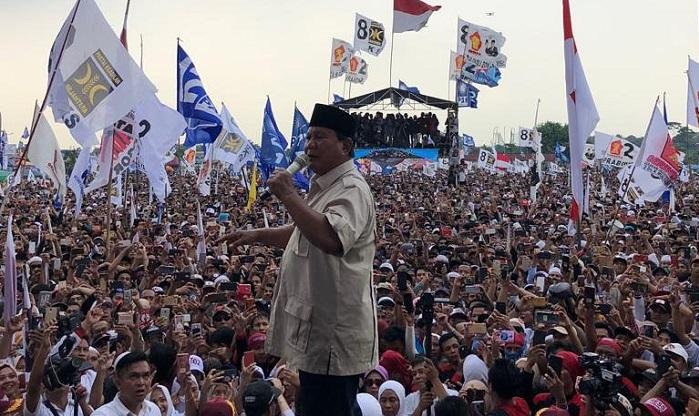 Kampanye di Bogor, Prabowo : Pertumbuhan ekonomi Indonesia tumbuh 5 persen. Tumbuh Ndasmu!