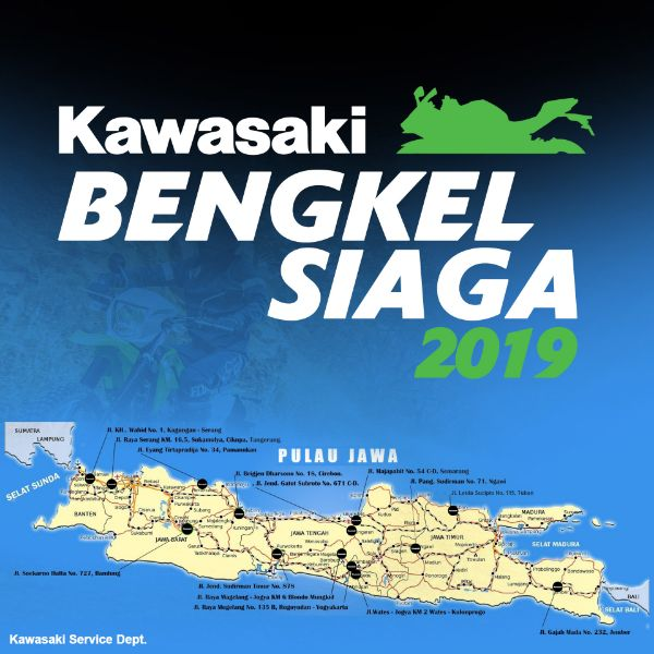 """KMI Siagakan """"Bengkel Siaga Lebaran 2019"""" 24 jam untuk Pemudik yang Menggunakan Motor Kawasaki"""
