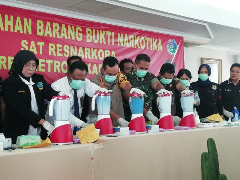 Polres Jakarta Utara Musnahkan 16 Kilogram Sabu dan 1300 Pil Ekstasi
