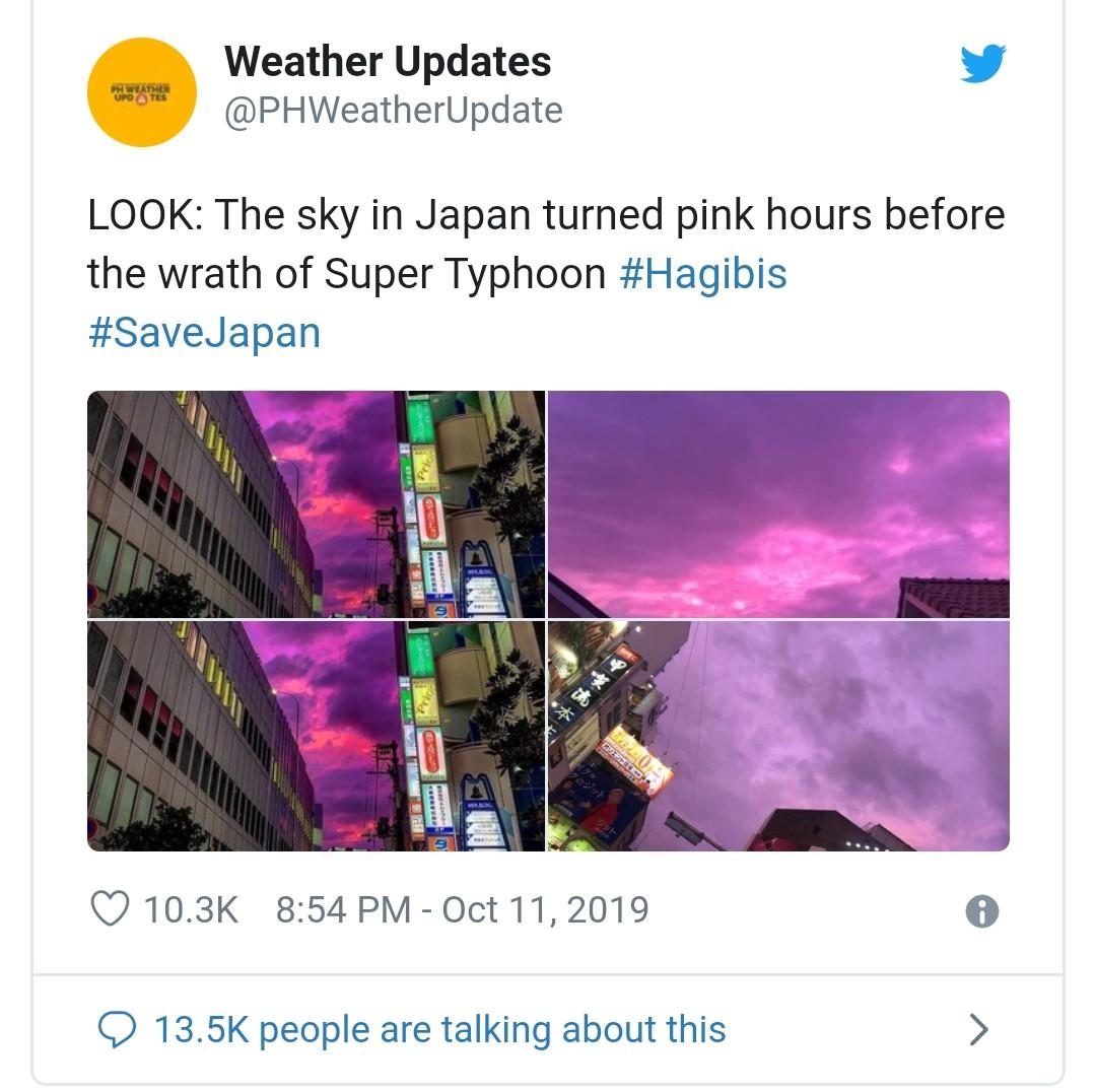 Penampakan Langit Warna Pink Menjadi Fenomena Keindahan dibalik Keganasan Topan Super di Jepang