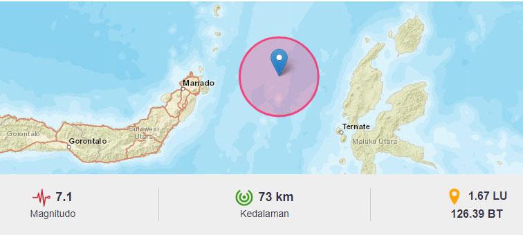 74 Gempa Susulan Terjadi Usai Gempa Utama M 7,1 Maluku Utara